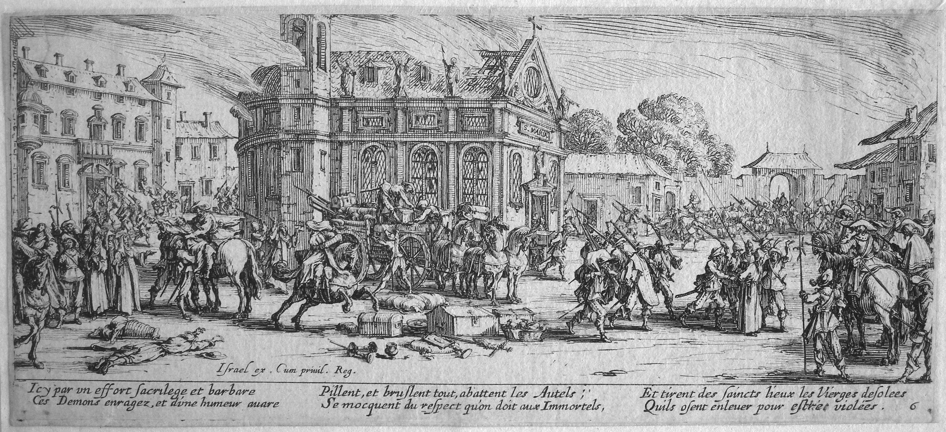 Les grandes misères de la guerre de Jacques Callot - dévastation d'un monastère